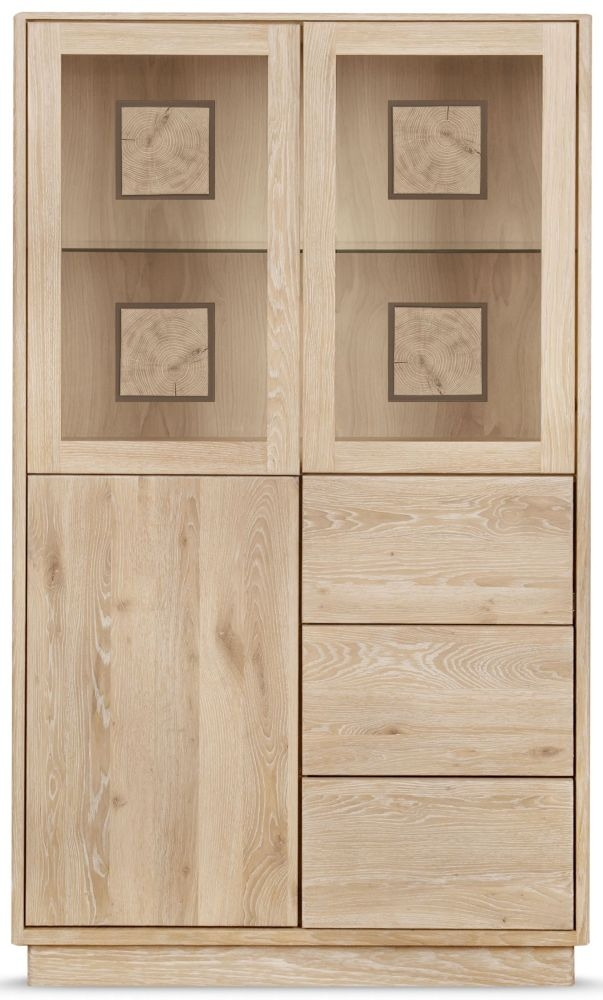 Clemence Richard Portofino Oak 3 Door Combi High Display Cabinet - 910D