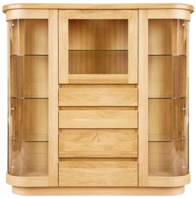 Clemence Richard Sorento Oak 3 Glass Door Combi Display Cabinet