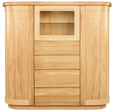 Clemence Richard Sorento Oak Display Cabinet with Wooden Door