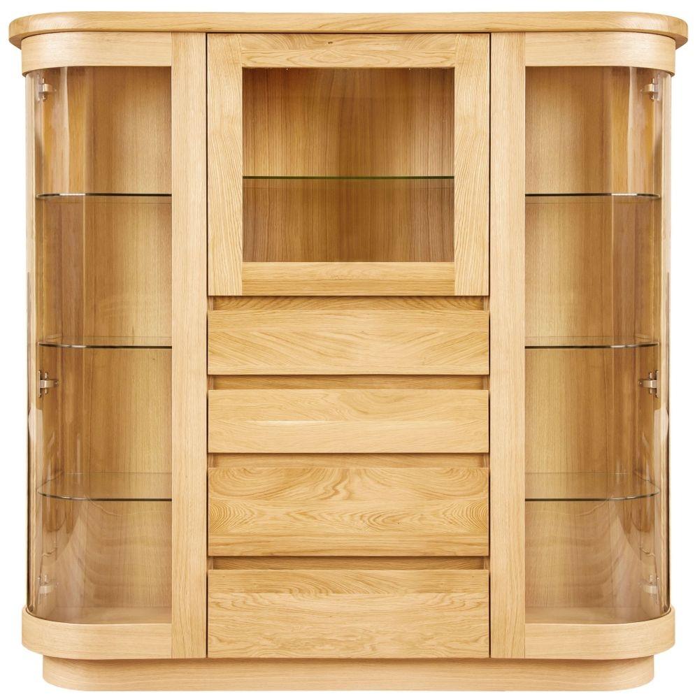 Clemence Richard Sorento Oak 3 Glass Door Combi Display Cabinet