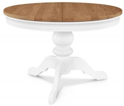 Clemence Richard Tuscany Painted Oak Single Pedestal Extending Dining Table