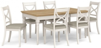 Corndell Annecy Smoke Grey Painted Extending Dining Table and 6 Chairs