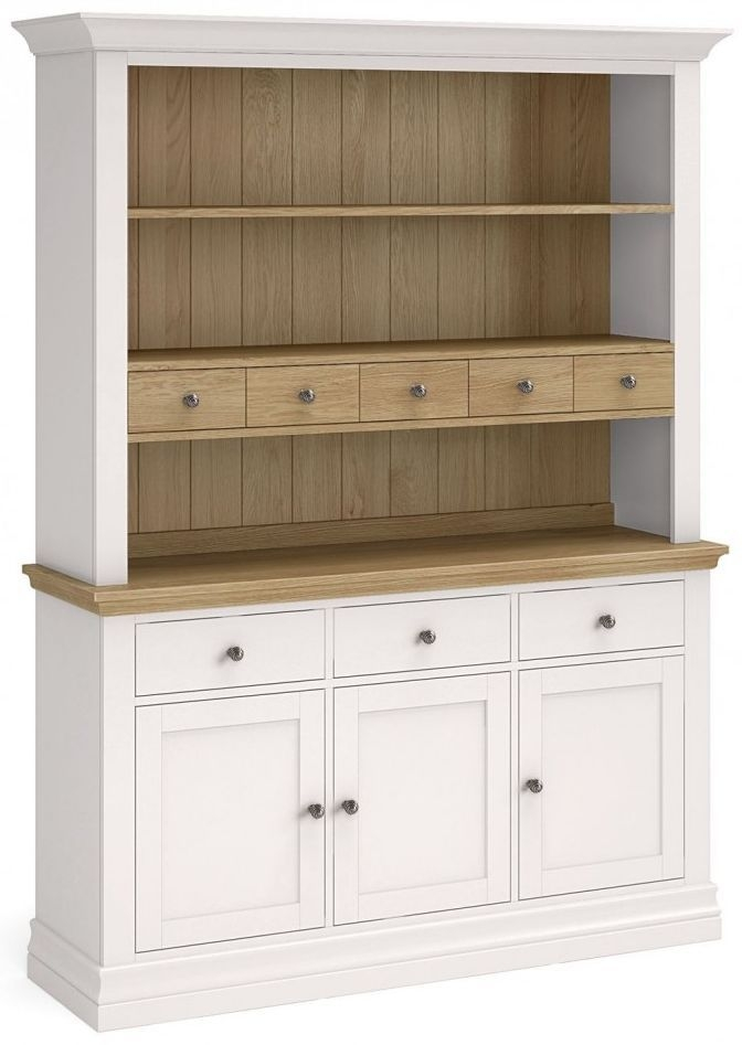 Corndell Annecy Smoke Grey Painted Large Sideboard with Open Hutch