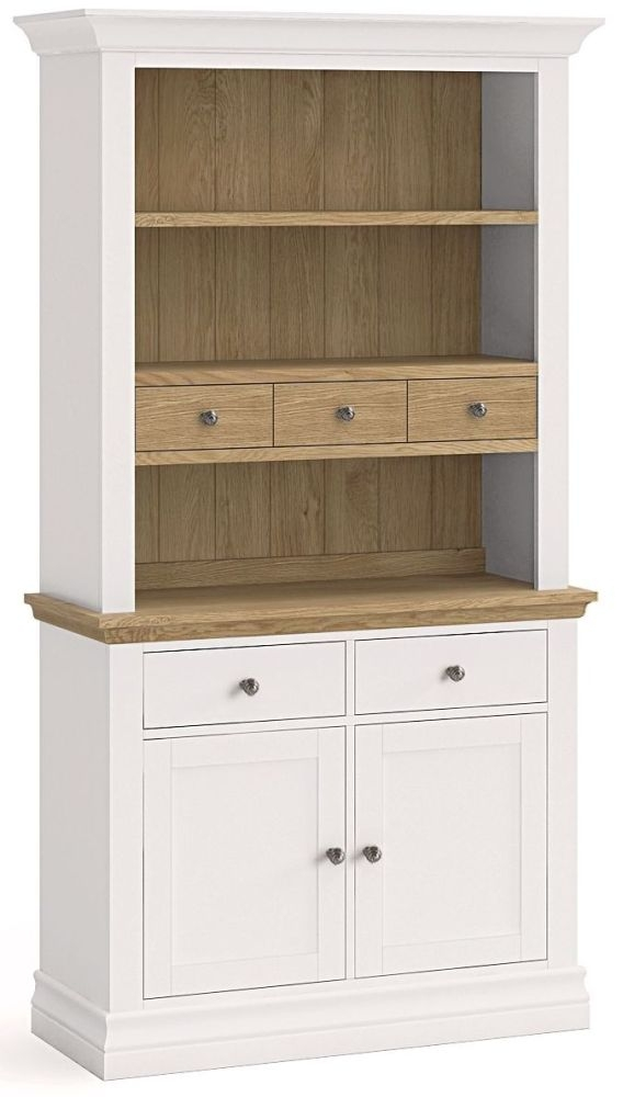 Corndell Annecy Painted Sideboard with Open Hutch - Small Narrow 2 Door 5 Drawer