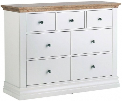 Corndell Annecy Painted Chest of Drawer with Oak Top - 3+4 Drawer