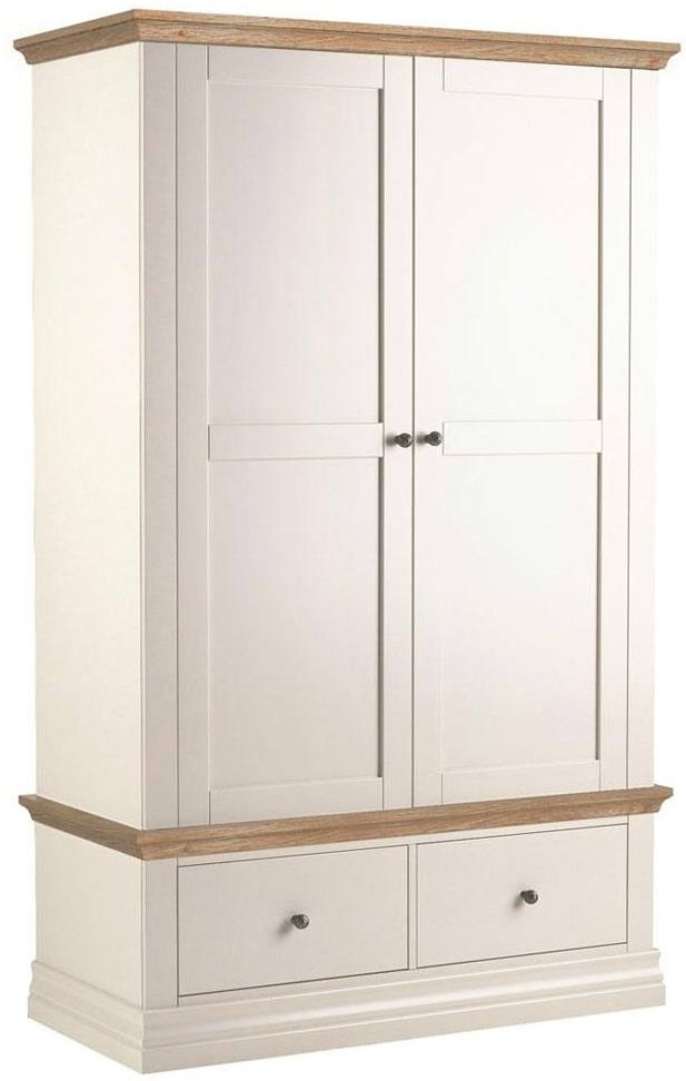 Corndell Annecy Painted Double Wardrobe with Oak Top - 2 Door 2 Drawer