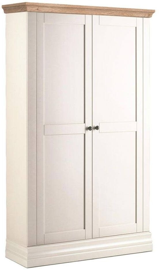 Corndell Annecy Painted Wardrobe with Oak Top - Narrow 2 Door