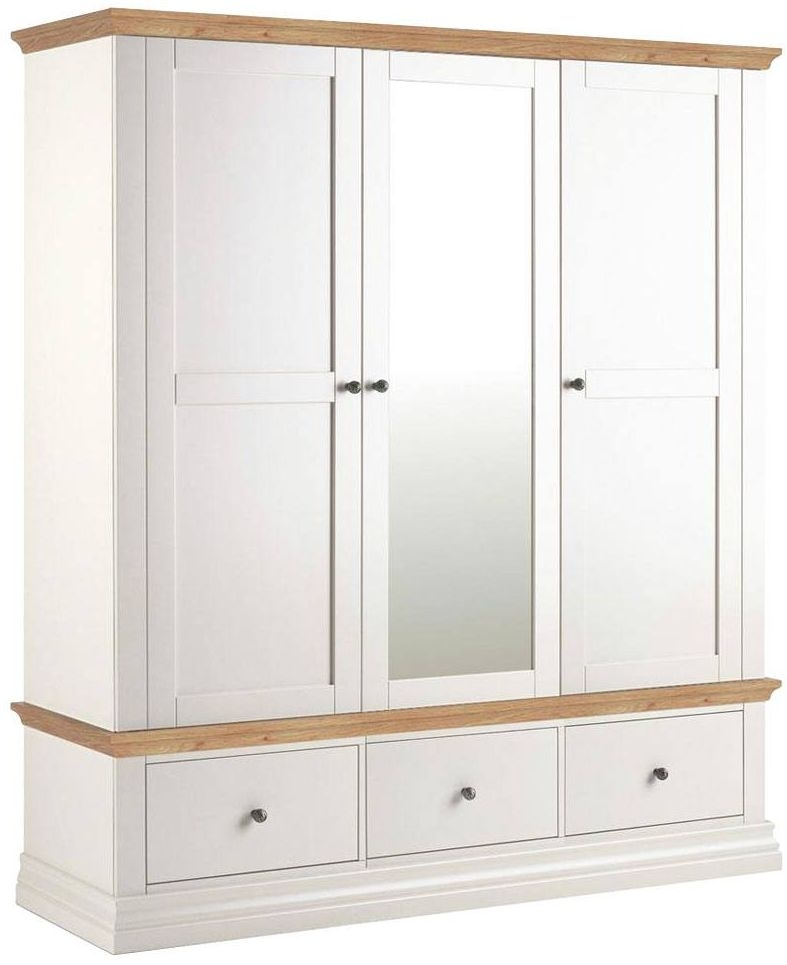 Corndell Annecy Painted Triple Wardrobe with Oak Top - 3 Door 3 Drawer