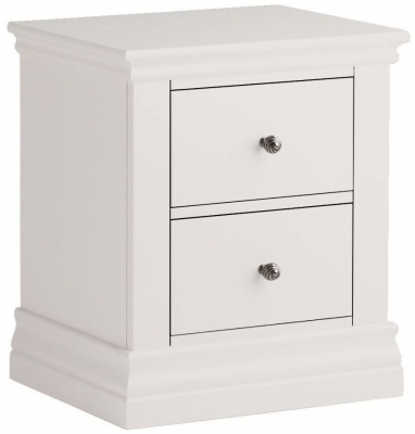 Corndell Annecy White Painted 2 Drawer Bedside Cabinet
