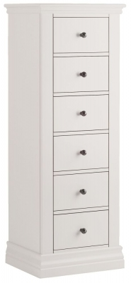 Corndell Annecy White Painted 6 Drawer Tallboy Chest