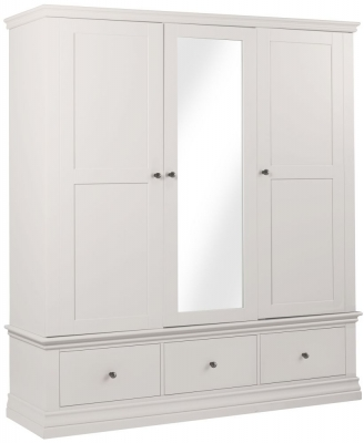 Corndell Annecy White Painted 3 Door Combi Wardrobe