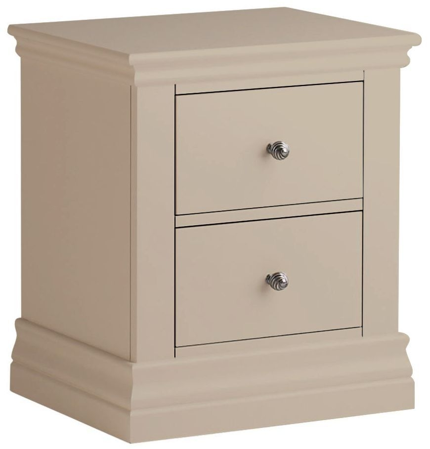 Corndell Annecy Taupe 2 Drawer Bedside Cabinet