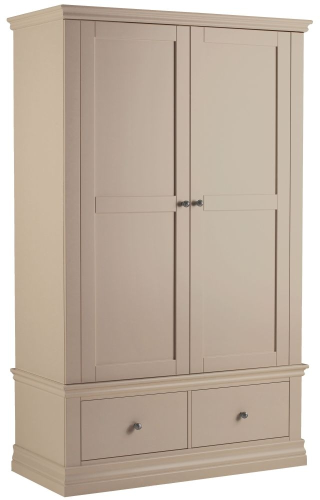 Corndell Annecy Taupe Double Wardrobe with 2 Drawers