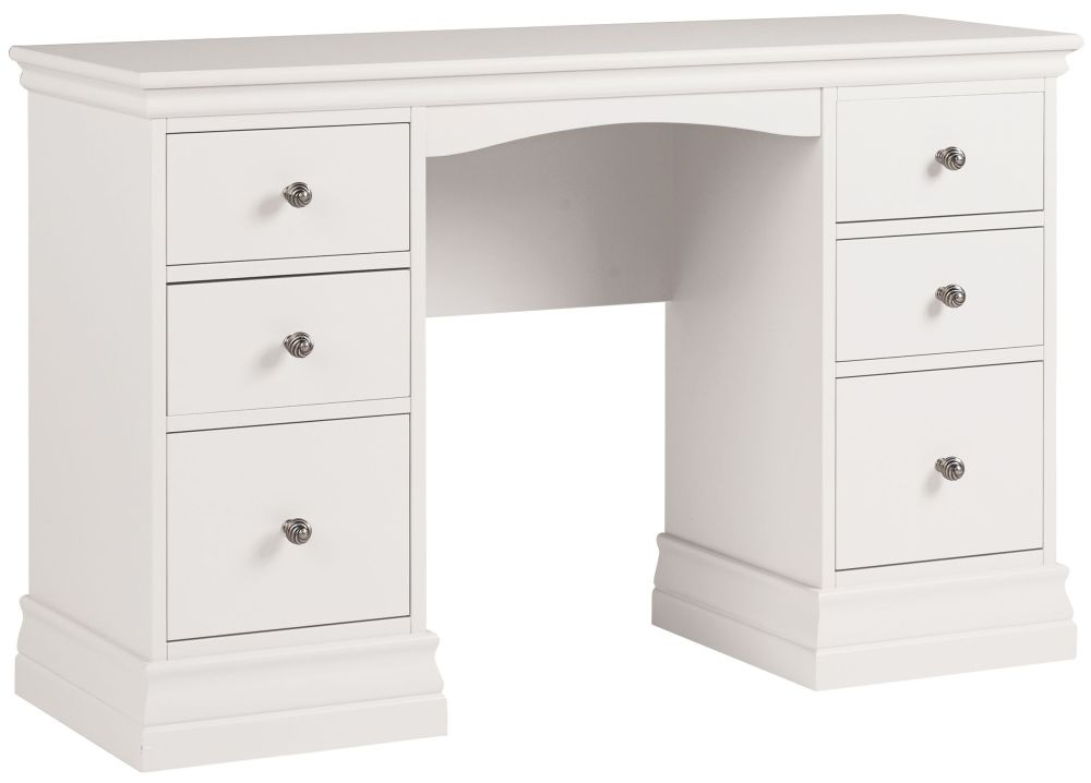 Corndell Annecy White Double Pedestal Dressing Table