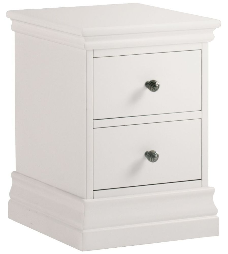 Corndell Annecy White Painted 2 Drawer Narrow Bedside Cabinet