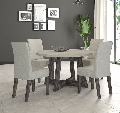 Corndell Austin 130cm White Concrete Round Dining Set - 4 Chairs
