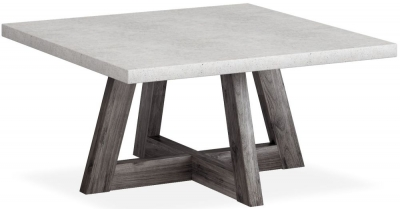 Corndell Austin Square Coffee Table - Faux Concrete and Acacia