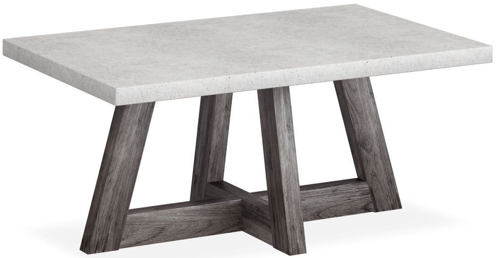 Corndell Austin Coffee Table - Faux Concrete and Acacia