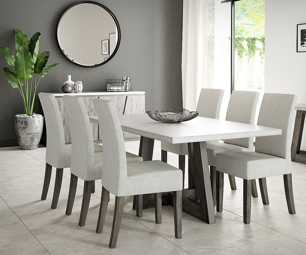 Corndell Austin Dining Table and 6 Chairs - Faux Concrete and Acacia