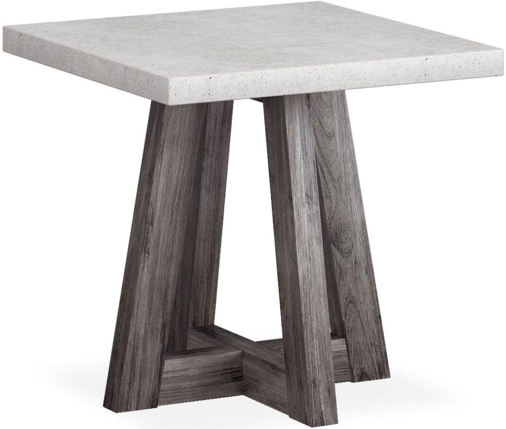 Corndell Austin Lamp Table - Faux Concrete and Acacia