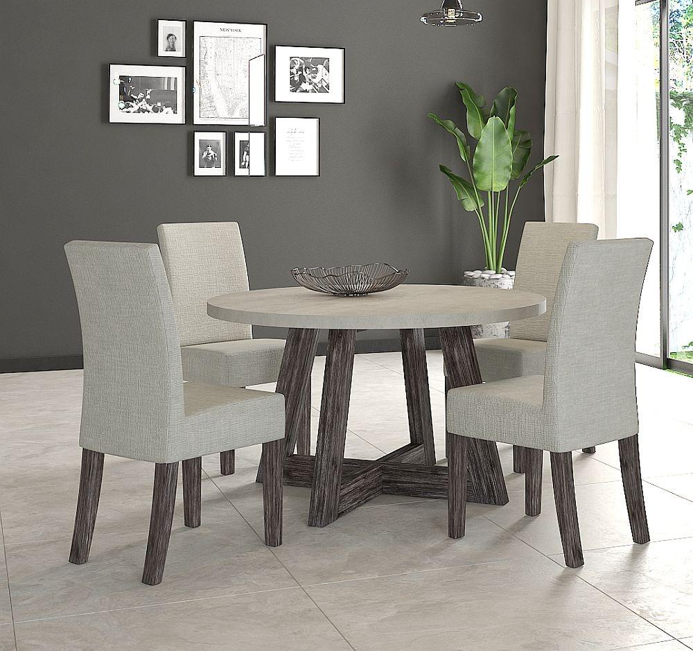 Corndell Austin 130cm White Concrete Round Dining Set 4 Chairs Cfs Furniture Uk