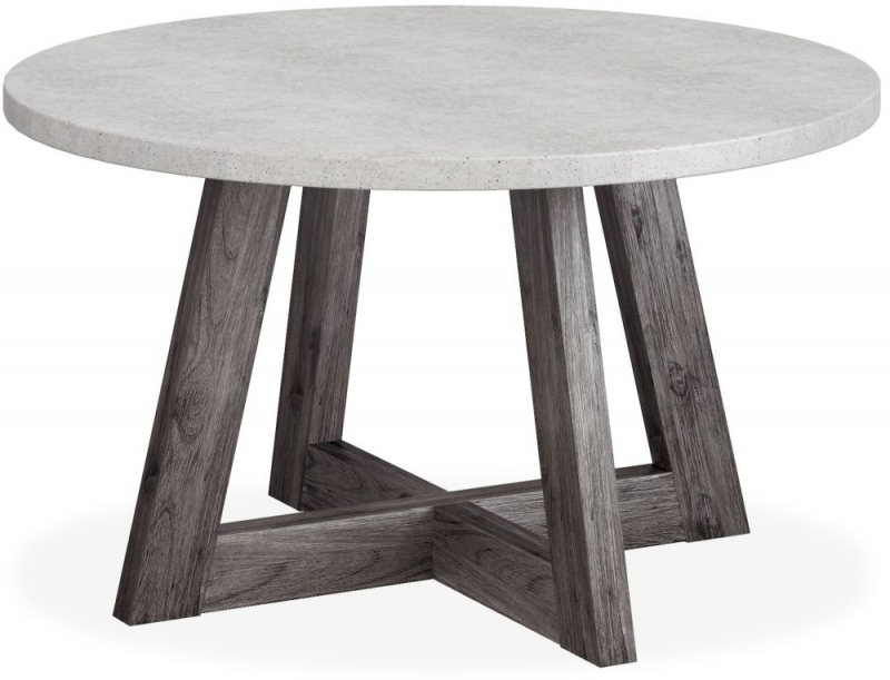 Corndell Austin Round Dining Table - Faux Concrete and Acacia