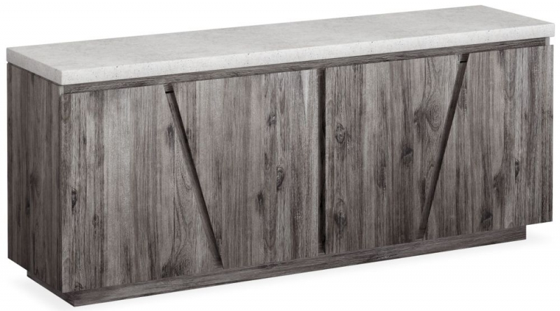Corndell Austin TV Unit - Faux Concrete and Acacia