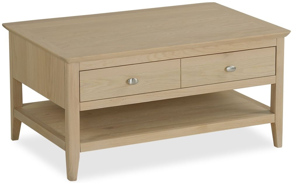 Corndell Blenheim Oak Storage Coffee Table - 2 Drawer