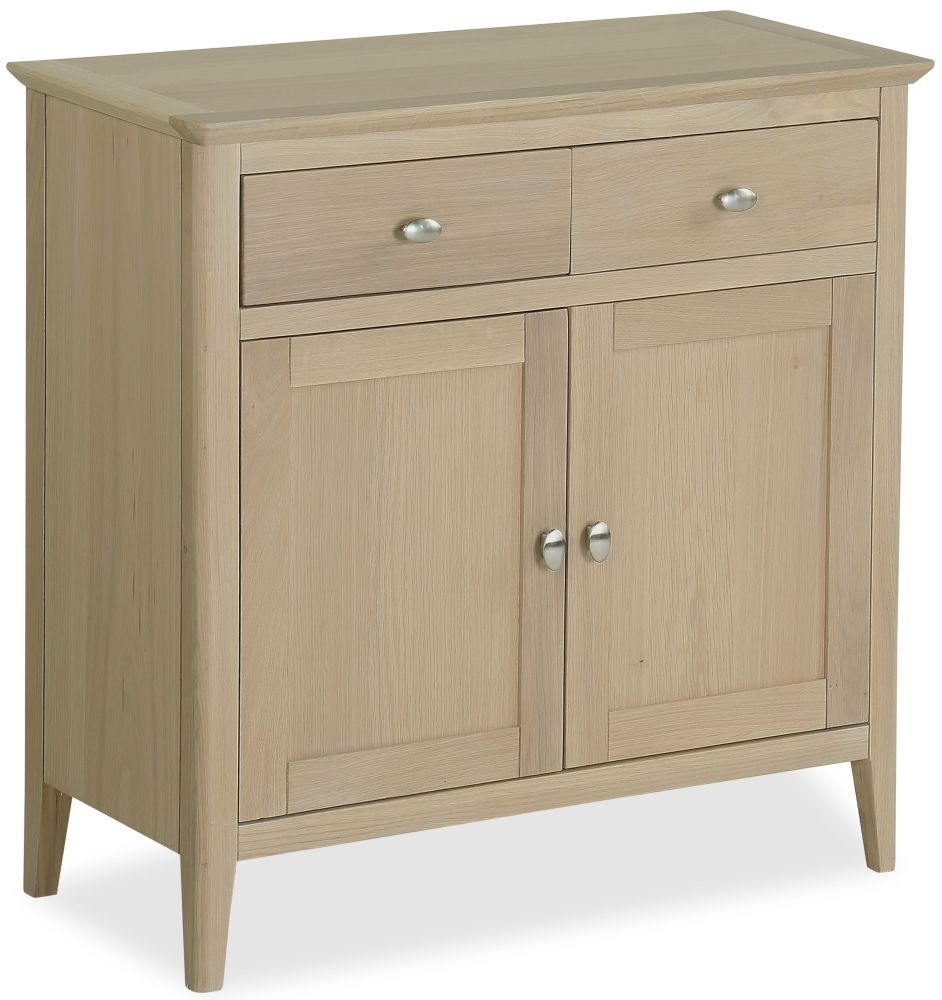 Corndell Blenheim Oak Sideboard - Mini Narrow 2 Drawer