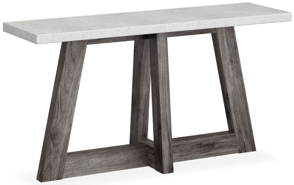 Clearance - Corndell Austin Console Table - Faux Concrete and Acacia - New - FSS9166