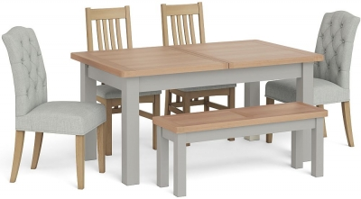 Corndell Daylesford Small Extending Dining Table with 4 Chairs 1 Bench - Oak and Pebble Grey
