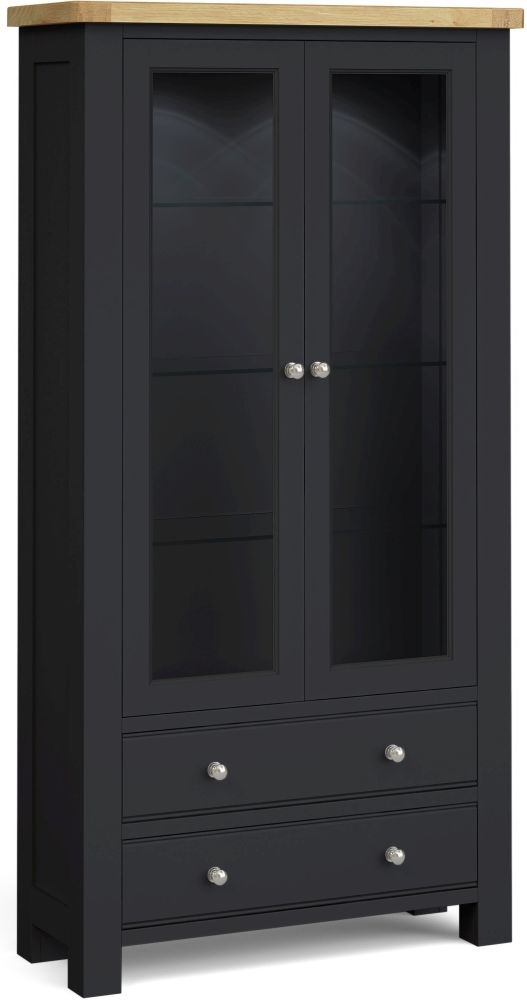 Corndell Daylesford 2 Door 2 Drawer Display Cabinet - Oak and Charcoal