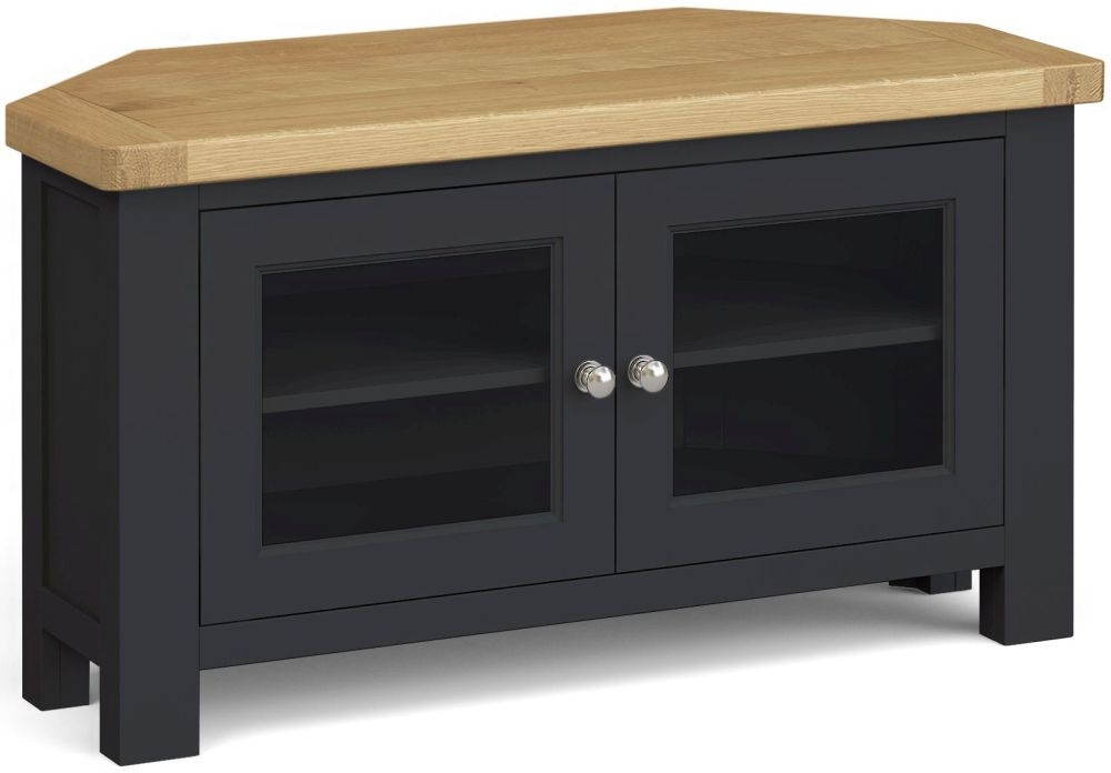 Corndell Daylesford 2 Door Corner TV Unit - Oak and Charcoal