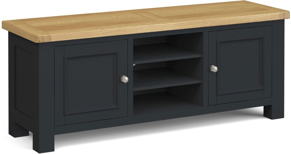 Corndell Daylesford 2 Door TV Unit - Oak and Charcoal