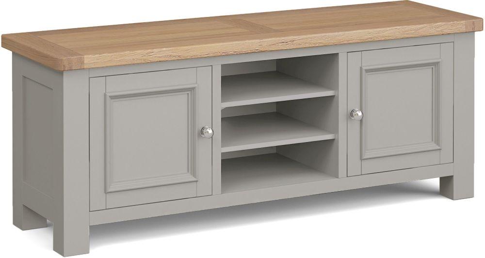 Corndell Daylesford 2 Door TV Unit - Oak and Pebble Grey