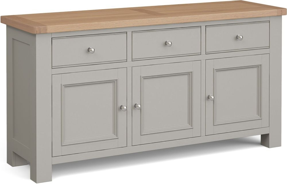 Corndell Daylesford 3 Door 3 Drawer Large Sideboard - Oak and Pebble Grey