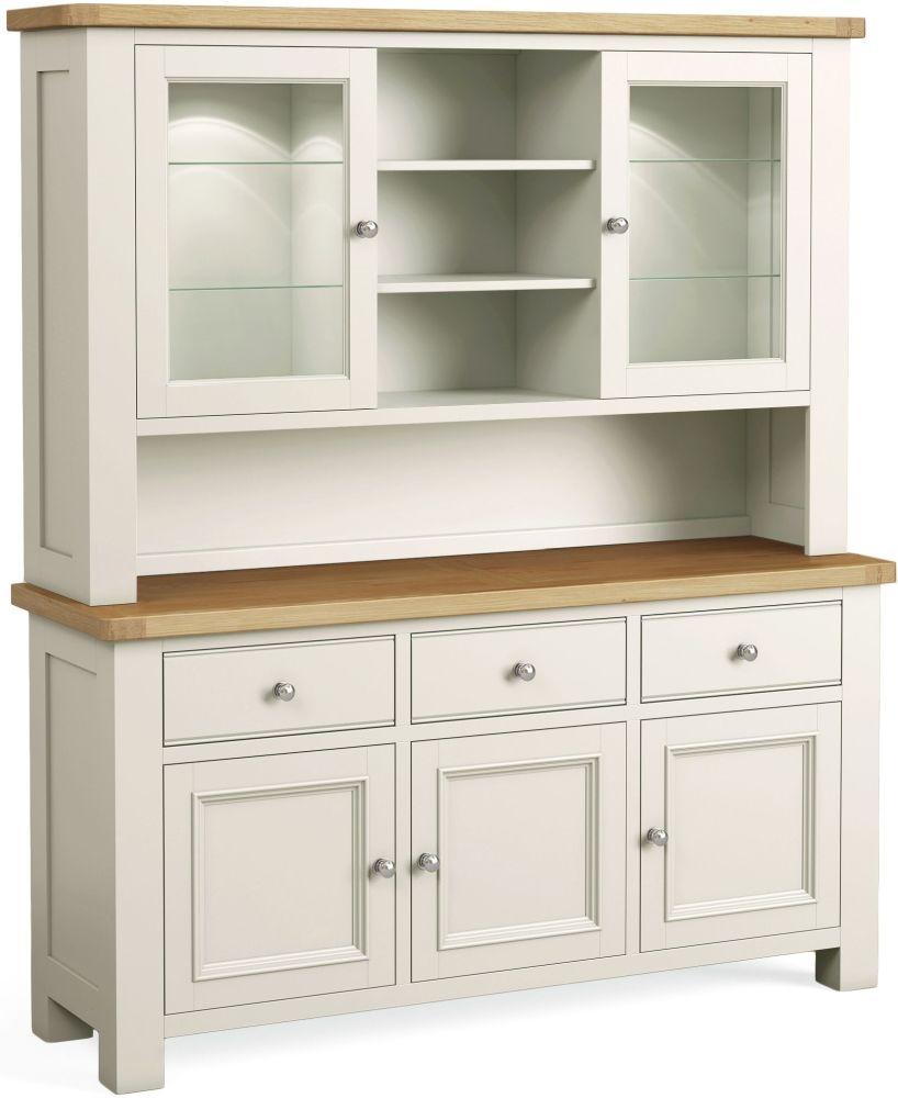Corndell Daylesford 5 Door 3 Drawer Hutch Dresser - Oak and Ivory