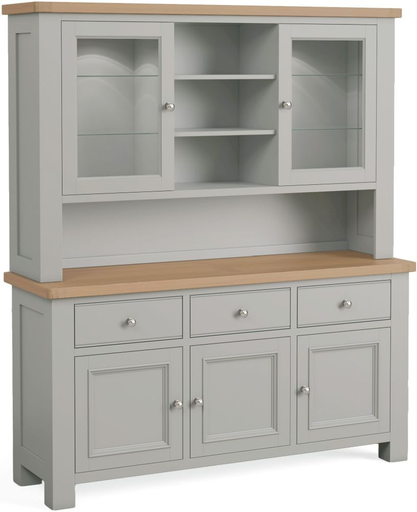 Corndell Daylesford 5 Door 3 Drawer Hutch Dresser - Oak and Pebble Grey
