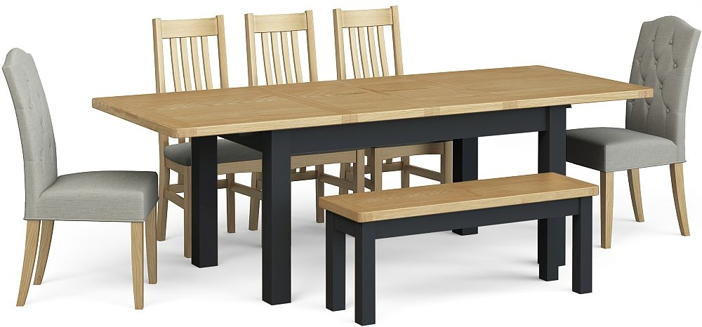 Corndell Daylesford Large Extending Dining Table with 5 Chairs 1 Bench - Oak and Charcoal