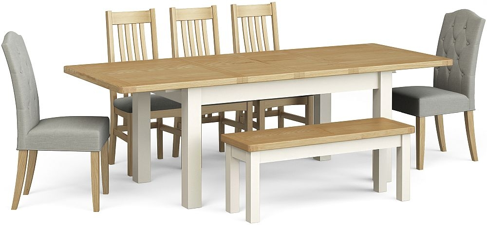 Corndell Daylesford Large Extending Dining Table with 5 Chairs 1 Bench - Oak and Ivory