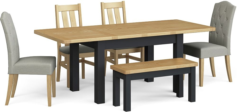 Corndell Daylesford Small Extending Dining Table with 4 Chairs 1 Bench - Oak and Charcoal