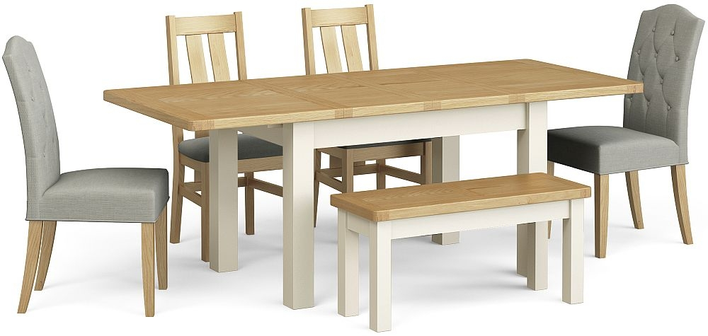 Corndell Daylesford Small Extending Dining Table with 4 Chairs 1 Bench - Oak and Ivory