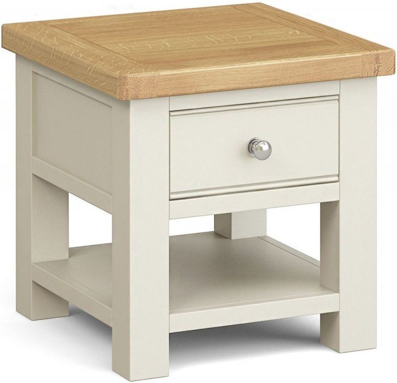 Corndell Daylesford 1 Drawer Lamp Table - Oak and Ivory