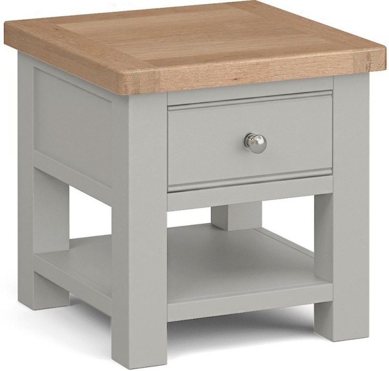 Corndell Daylesford 1 Drawer Lamp Table - Oak and Pebble Grey