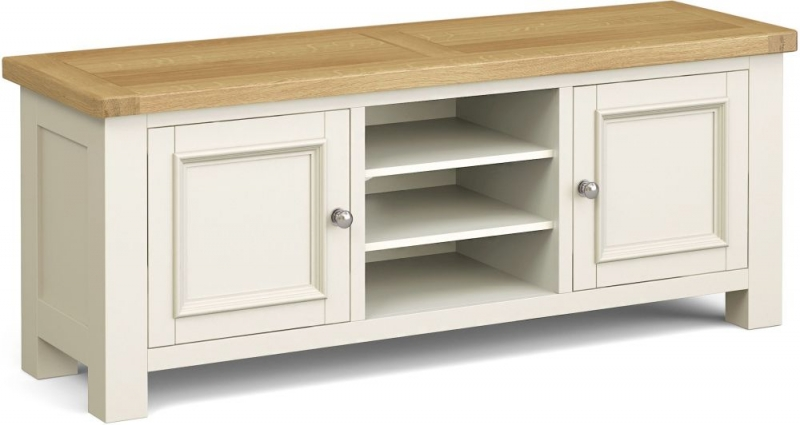 Corndell Daylesford 2 Door TV Unit - Oak and Ivory