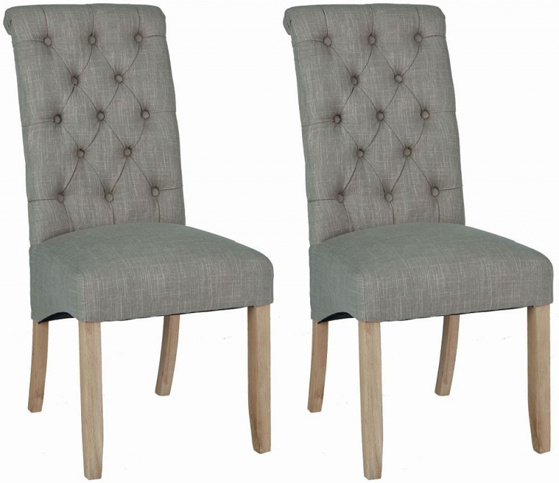 Corndell Daylesford Button Back Dining Chair - Oak and Grey (Pair)