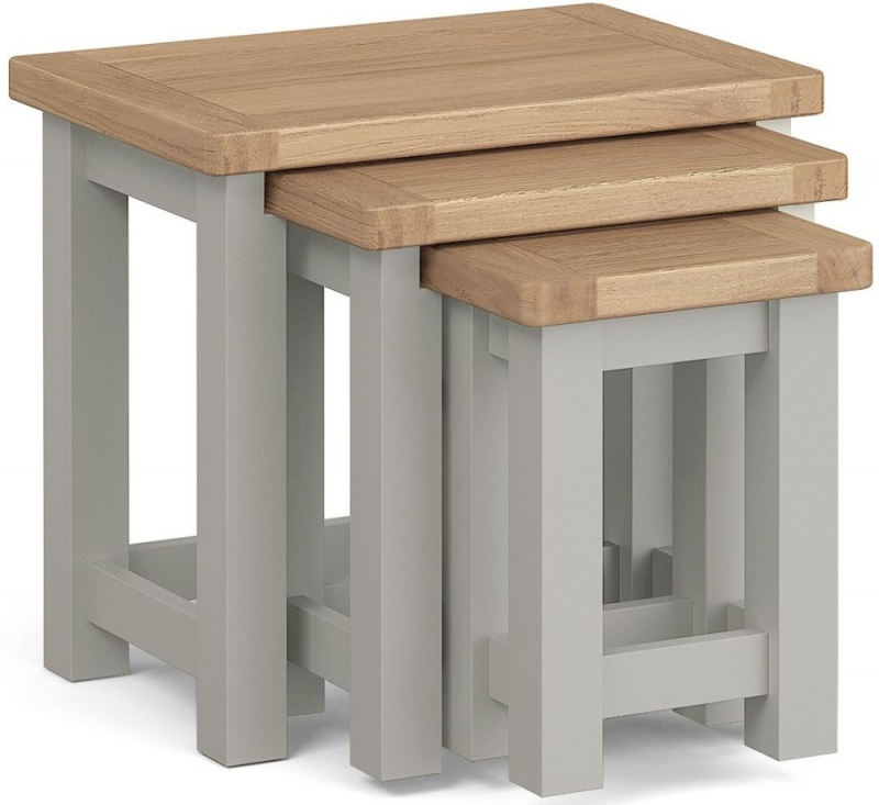 Corndell Daylesford Nest of Tables - Oak and Pebble Grey