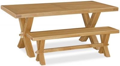 Corndell Fairford Oak Cross Legs Dining Set with 2 Benches