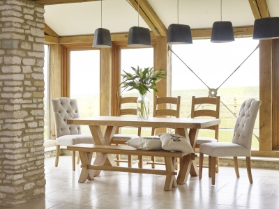 Corndell Fairford Oak Cross Legs Dining Set with 2 Chalsea Chairs and Bench