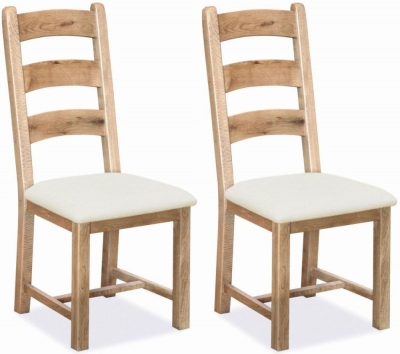 Corndell Fairford Oak Dining Chair with Fabric Seat ( Pair)